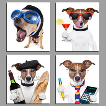 4Pcs Fashion Cool Sunglasses Puppy decoration dogs wine glass canvas painting print wall art pictures For Living room unframed