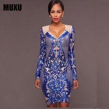 MUXU fashion lange mouwen blauw pailletten jurk vrouwen kleding sukienka  vestidos de festa kleding vrouwen jurken glitter potloo. 1e3bc2d597df
