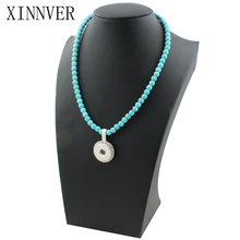 New Beads Snap Necklace 76cm For Women With Elegant Pendant Fit DIY 18MM Xinnver Snap Buttons Jewlery Wholesale ZG015(China)
