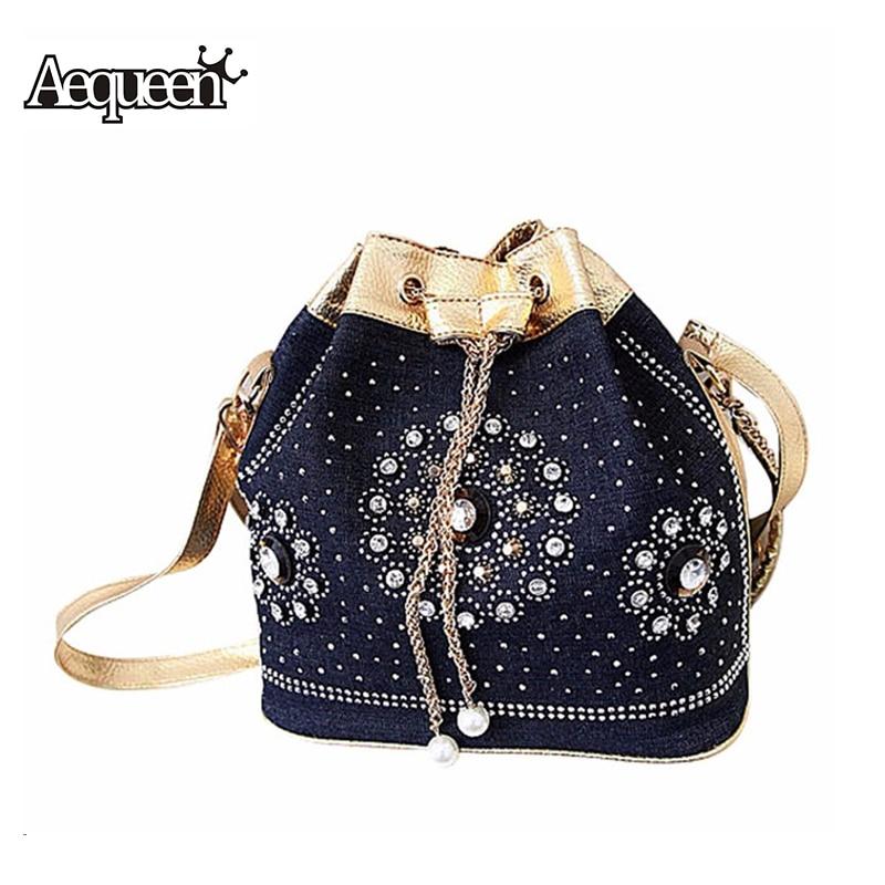 New Women Demin Handbags Rhinestones Chain Shooulder Crossbody Bag Vintage Style Rivet Tassel Jean Cloth Bucket Bolsa Feminina<br><br>Aliexpress