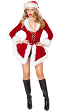 Hot sell! Sexy Cute Christmas Costumes Female Christmas Festival Miss Santa Mini Dress Sexy Santa Claus Costumes(China)