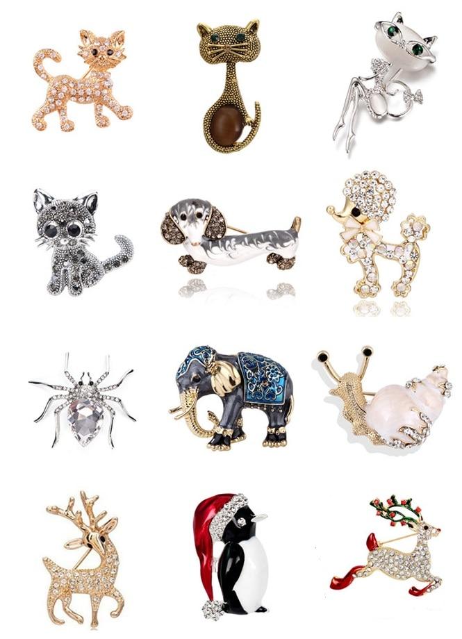 Crystal Animal Brooch Cute Rhinestone Elephant Cat Dog Penguin Snails Deer Spider Enamel Brooch Jewelry Accessories
