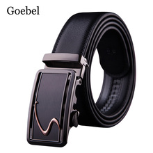 Goebel Men Belts Fashion Automatic Buckle Mens Brand Name Belts Casual Cow Split Leather Belt Luxury Men(China)