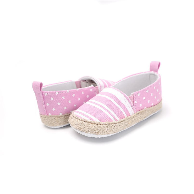 Baby Girl Shoes Toddler Infant Baby Girl Dot Striped Crib Shoes Soft Sole Anti-slip Single Shoes Baby First Walker Shoes M30#F (19)