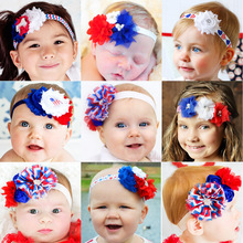 Kids Hair Flower Accessories  American 4th Of July National Day Chiffon Headband For Kids Girl Striped Hair Flower Headwraps
