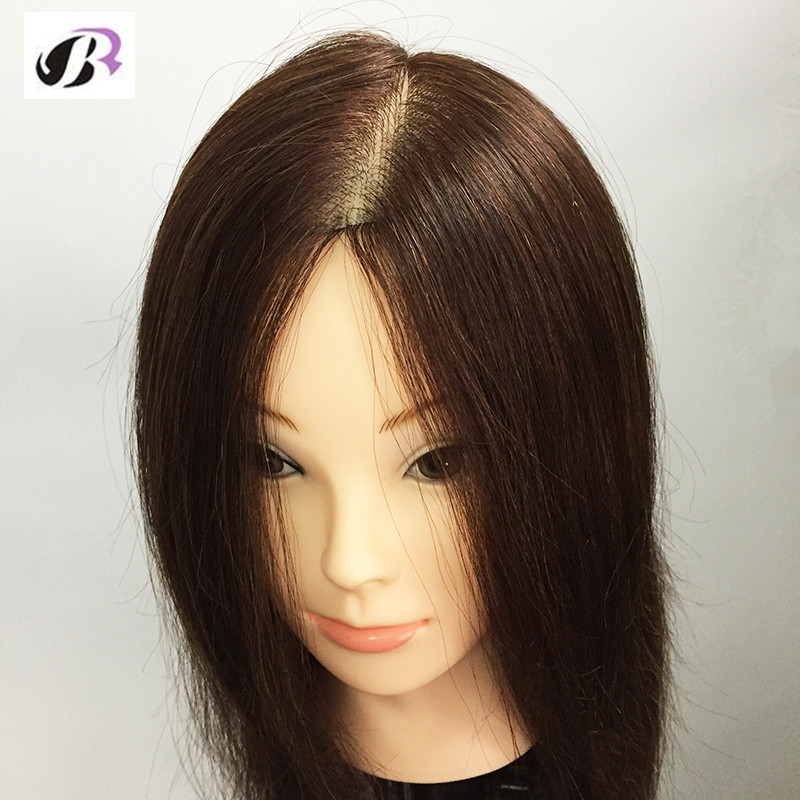 18″ Mannequin Head with Human Hair Professional Styling Head Dummy Natural Hair Head Dolls for Hairdressers Plastic Doll Head