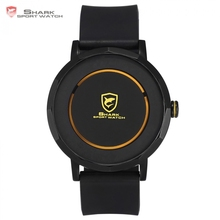 Dusky Shark Sport Watch 2017 Black Yellow Designer Simple Circle Analog Relogio Gift Box Rubber Strap Men Quartz Watches /SH513