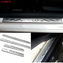 For vw Volkswagen POLO 6R/6C/61 2011-2017 Stainless Steel Door Sill Scuff Plate auto car accessories car-styling 3D sticker 4pcs(China)