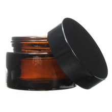 1pcs 30g 1OZ Glass Amber Facial Cream Jar Empty Cosmetic Sample 30ml Container Emulsion Refillable Pot Black Lid For Travel