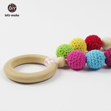 Let's make Wooden Teething Baby Crochet Bead Wood Ring Baby Stroller Hanging Play Gym Baby Necklace Baby Teether