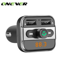 Onever Car Audio mp3 player FM transmitter wireless modulator Car Bluetooth Handsfree With Charger 3.4A Dual USB TF Slot black