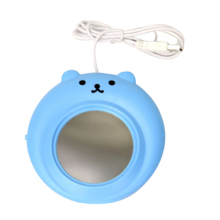 Cute Bear USB Electronics Powered Cup Warmer Heater Pad Coffee Tea Mug Pad Plate Blue(China)