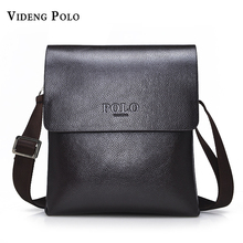 VIDENG POLO Hot Sell Brand Solid Double Pocket Soft Crossbody Bag Leather Men Messenger Bag Small 2 Layer Mens Shoulder Bag(China)
