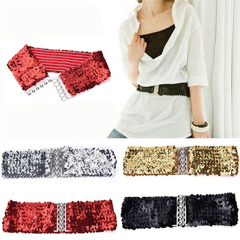 1pc Wide Stretch Belt Women Shinny Cummerbund High Fashion Metallic Sequin Women Dress Belts Gold/Black/Silver Free Size