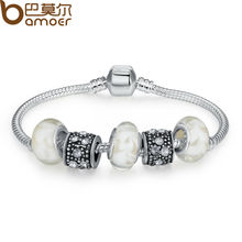 Buy BAMOER Silver Charm Bracelet Bangle Female White Murano Glass Beads Charm DIY Jewelry PA1374 for $2.88 in AliExpress store
