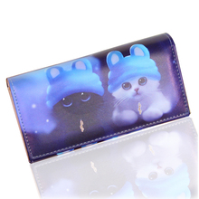 TONUOX Fashion Women's Wallets Soft PU Leather Cats Animal Pattern Casual Lady Coin Purse Handbags MoneyBags Wallet Burse Bags