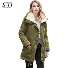 Fitaylor Winter Jacket Women 2017 New Thick Cotton Liner Slim Plus Size Femme Coat Fashion Wadded Warm Waist Belt Ladies Parka
