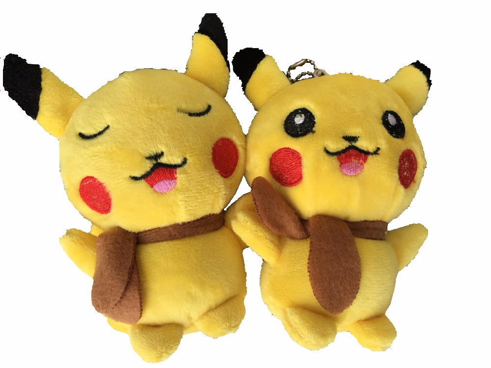1pcs 10cm Cute Cartoon Pikachu Plush toy Dolls MIni kawaii Stuffed Toys Bag Strap Pendant keychain For Bag Backpack Accessories(China)