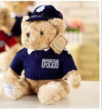 blue colour ,stuffed animal 33 cm police suit teddy bear plush toy soft bear doll w2115(China)