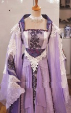 QiXi New Design Customized Size Photography and Cosplay Costume for Women Wide Sleeve Costume with Long Train Purple Fairy(China)
