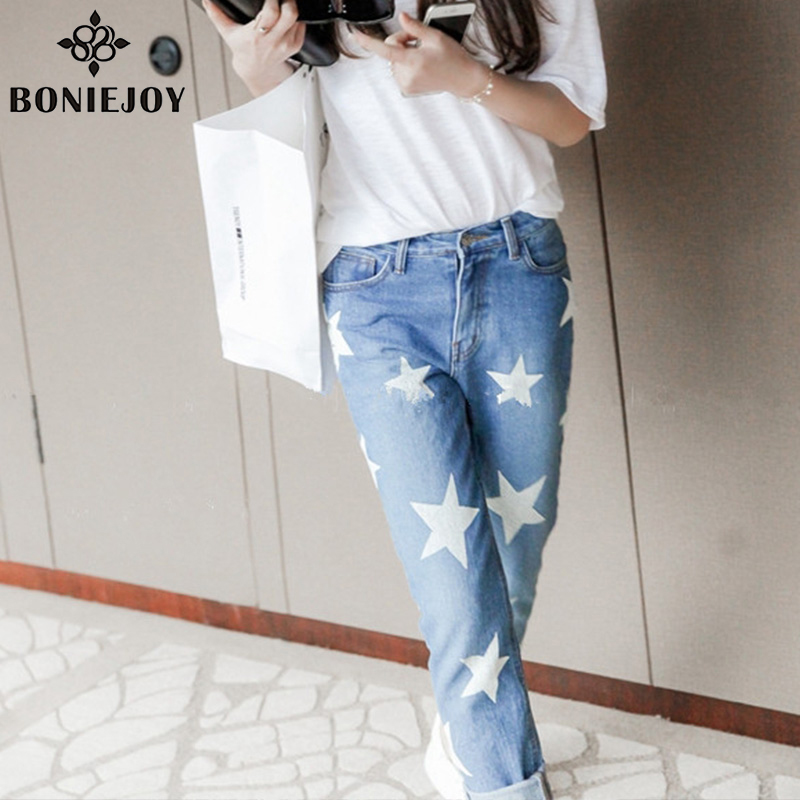 2017 Hot Pants Explosion Models Fashion Women Trousers Casual Ladies Jeans Stars Printing Straight Denim Slim Jeans For WomenОдежда и ак�е��уары<br><br><br>Aliexpress