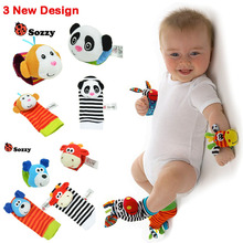 0~24 Months Newborn Baby Socks Animal Foot Socks Rattles Toys Developmental Soft Wrist Toys V20