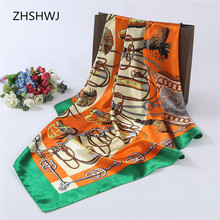 ZHSHWJ] 90 x 90 cm women's scarf polyester scarf scarf spring and summer square luxury brand scarf fashion gorgeous Hijab