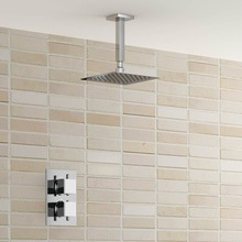 "Square 8"" Ceiling Thermostatic Mixer Shower Ultra Thin Head Chrome Bathroom Valve Shower Set(China)"