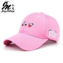 2016 New Arrival Spring Leisure Fresh Fruit Embroidery Hat  Strawberry Banana Cherry Orange Peach  Baseball Cap For  Women B291