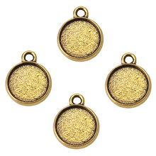 20pcs/lot antique gold Cabochon base charms pendant fitting women diy Cabochon necklace & bracelet jewelry accessories findings(China)