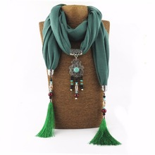 2017 Woman Charms Resin Beads Tassel Women Necklace Drop Pendant Scarves Christmas Gift Choker Jewelry Scarves Necklace(China)