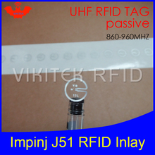 UHF RFID tag Impinj J51 dry inlay 915mhz 900mhz 868mhz 860-960MHZ Higgs3 EPCC1G2 6C smart card passive RFID tags label(China)