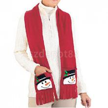Christmas Scarf Gift Red Lint Snowman Style Wrap with 2 Pockets 160x15cm