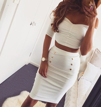 Summer two piece set dress bodycon dresses three quarter sleeve top golden button white women club wear clothing