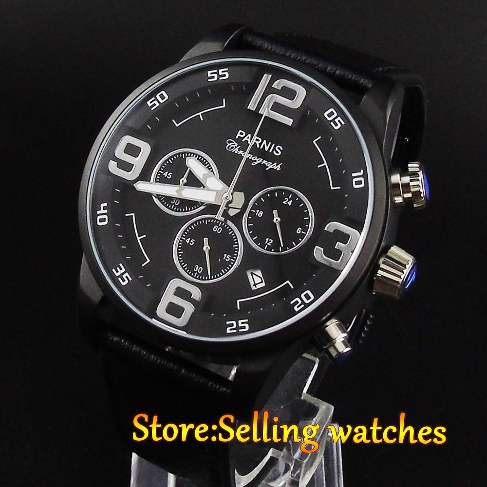 44mm parnis black dial PVD case date quartz Full chronograph mens watch <br><br>Aliexpress