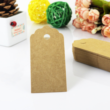 2016 New 200Pcs/lot Brown Kraft Jewelry Tag 4.3x9cm Cardboard Hang Tags Rectangle Shape Jewelry Card Price Label Tag