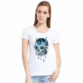 Newest Hot Selling European Style Summer T Shirt Women 2017 Fashion 3D Printed Skeleton Skull Skull Tshirts Tops Tees Women