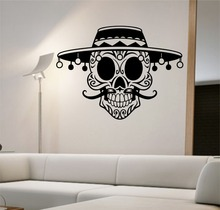 Removable Home Decoration Mustache Sugar Skull with Hat Vinyl Wall Decal Sticker Art Decor Bedroom Design Mural home decor M-44