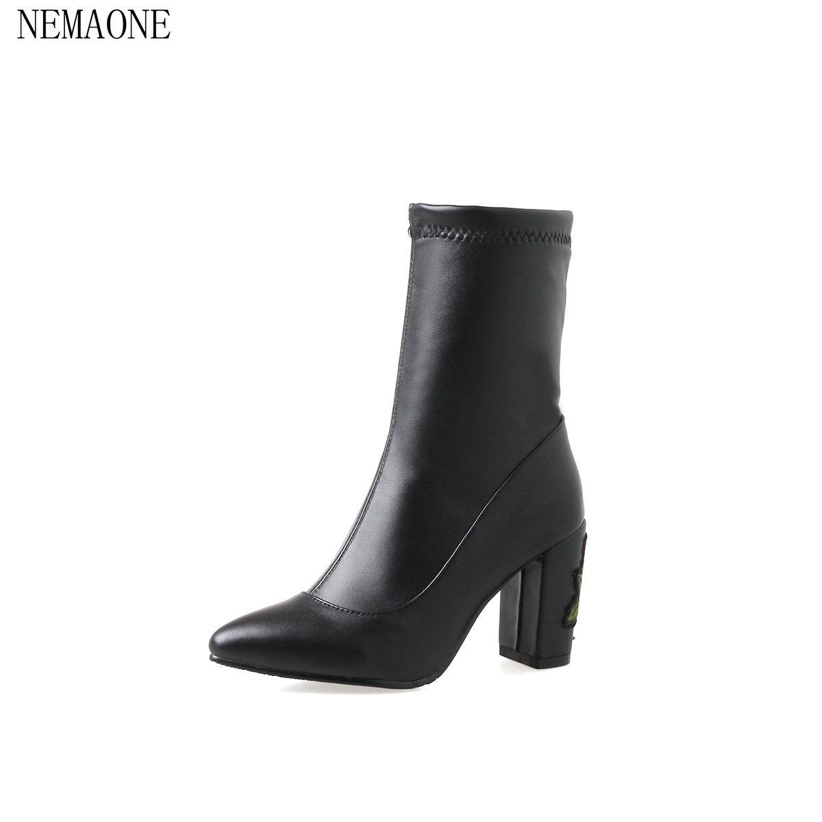 NEMAONE 2018 Women half  Boots Solid Fashion Square Heel Round Toe Women All Match Women Motorcyle Boots Size 34-43<br>