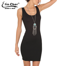 EliaCher Women Sexy Black Shealth dress Tops Plus Size Women clothing chic elegant Classic Bodycon dresses 8371(China)