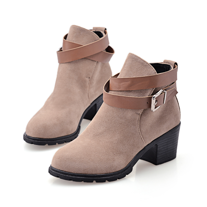 Fashion Buckle Ankle Snow Boots High-Quality Suede Thick Med-Heel Women Boots Casual Women Shoes Chunky Femininos Zapatos Mujer<br><br>Aliexpress