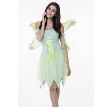 Adult Women Halloween Idea Jungle Tinkerbell Costume Fancy Dress Green Fairy Butterfly Wings Outfit For Ladies