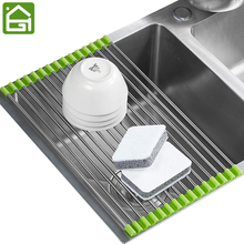 LARGE Kitchen Stainless Steel Tube Drainer Rack Folding Sink Filter Shelf with 15 Tubes for Vegetables Fruit and Dish Bowl(China)