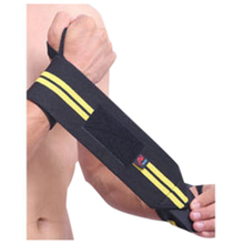 Weight Lifting Sports Wristband Gym Wrist Thumb Support Straps Wraps Bandage Fitness Training Safety Hand Bands black and yellow(China)