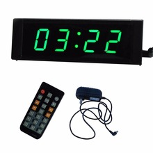 Green LED 1'' 4Digits LED Wall Clock Digital Countdown Clock Countdown Count Up in Minutes Seconds