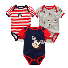 3PCS Newborn Baby Rompers Unisex Infant Clothes Cotton Short Sleeves Baby Boy Girl Clothing Cute Cartoon O-Neck Striped 0-9M