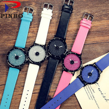 PINBO Retro Personality tide fashion watch men women quartz clock creative lover wristwatches leather band hours Reloj Hombre