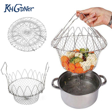 Foldable Steam Rinse Strainer Stainless Steel Colander Magic Mesh Basket Drainer Frying French Fryer Tool Kitchen Cooking Basket(China)