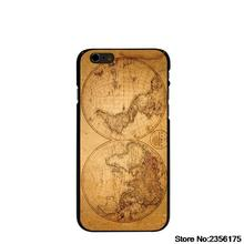 old world antique map travel wood Hard black Cover cell phone Case for iPhone 4 4S 5 5S 5C 6 6S Plus 6SPlus