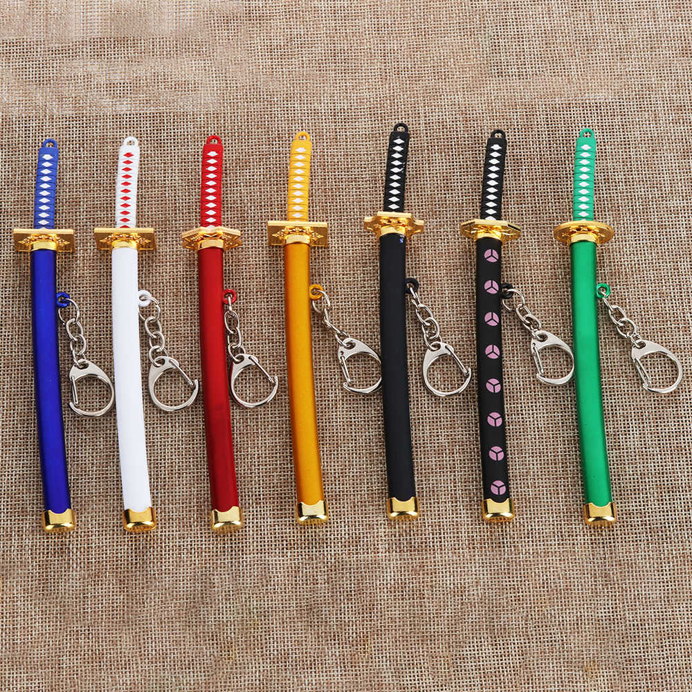 1PCS Unisex Anime Naruto Metal Alloy Jewelry Zoro Katana Buckle Game Model Sabre Samurai Sword Keychain Scabbard Key Ring Gift